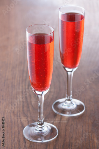 Kir royale cocktail prepared in the traditional way