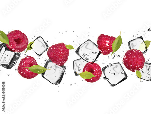 Poster In het ijs Raspberries with ice cubes, isolated on white background
