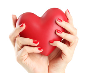 Red heart in woman hands, isolated on white