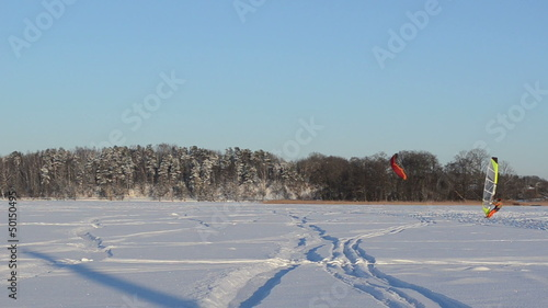 panorama people ice sail surf  kiteboard frozen lake  winter