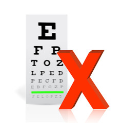 Medical Eye Chart with a x mark. poor vision