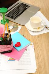 Office desktop close-up