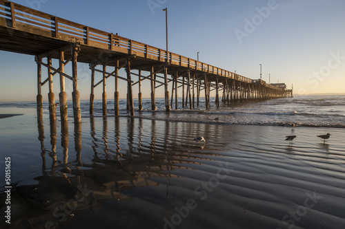 newport beach pier reflection