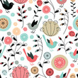 Seamless pattern.Birds and flowers