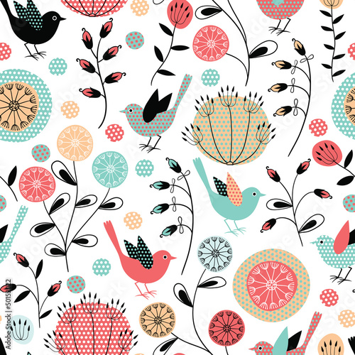 Seamless pattern.Birds and flowers|50152022