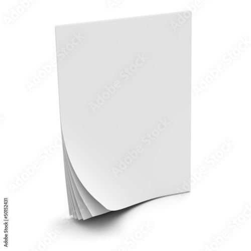 Paper sheets curled isolated