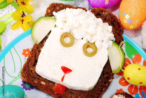easter sandwich with sheep head for child