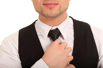 Detailaufnahme Krawattenbinden