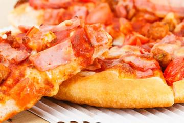 Closeup fresh italian pizza