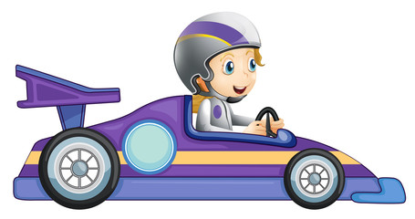 A girl in a racing car