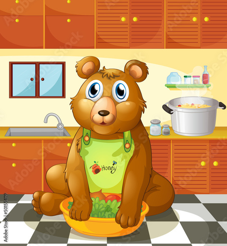 A bear holding a bowl of vegetables inside the kitchen