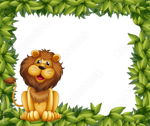 An empty leafy frame with a lion