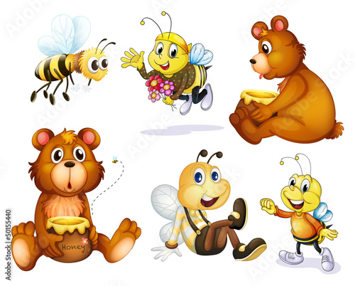 Foto op Aluminium Beren Two bears and four bees