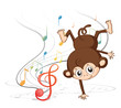 A monkey dancing with musical notes