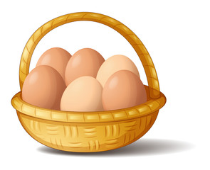 A basket with six eggs