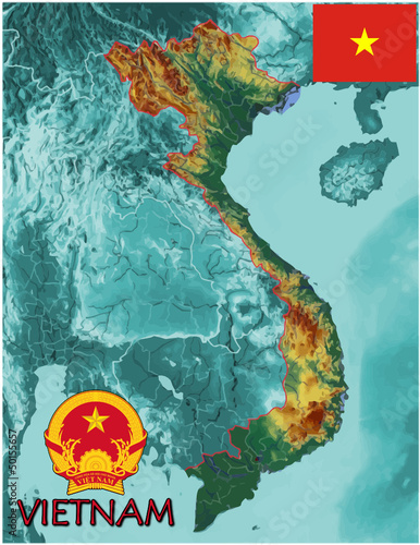 Vietnam Asia Europe national emblem map symbol motto
