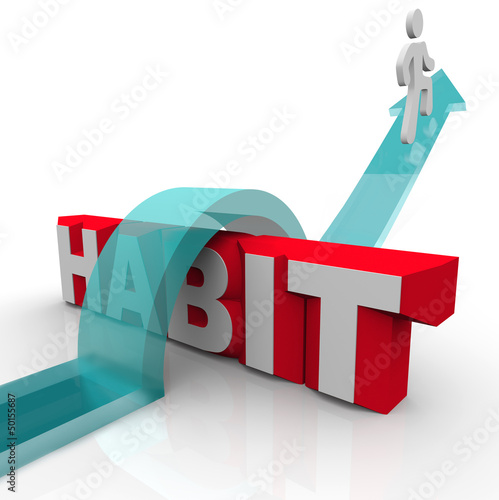 Overcoming a Habit Addiction Person Over Word Obstacle