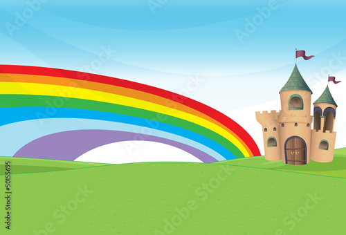 Foto op Aluminium Kasteel A castle and the rainbow