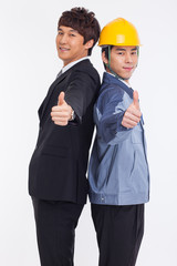 Asian business man and engineer show thumbs.