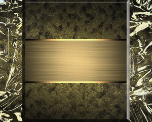Gold abstract texture with golden plate