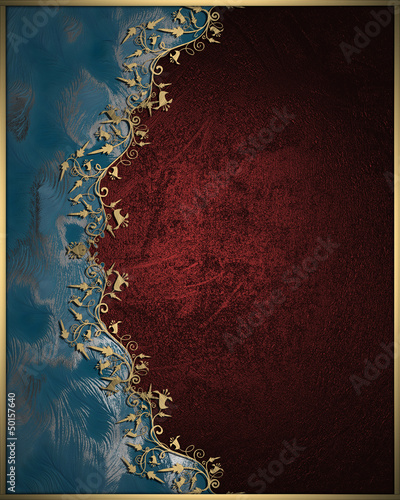 Blue texture with golden-red edge, with a floral pattern