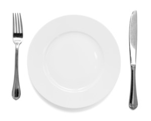 knife and fork with plate