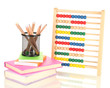 Bright wooden toy abacus, books and pencils, isolated on white