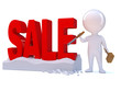 """Little man carves the word """"SALE"""" in red"""