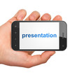 Advertising concept: smartphone with Presentation