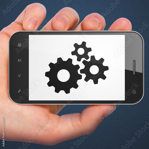 Advertising concept: smartphone with Gears.