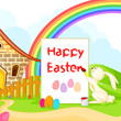 vector illustration of bunny painting Happy Easter