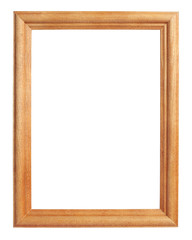 Classic wooden frame isolated on white with clipping path