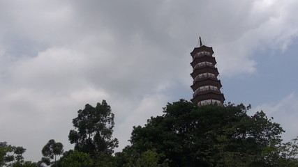 Fast motion of The Temple of the Six Banyan Trees among clouds