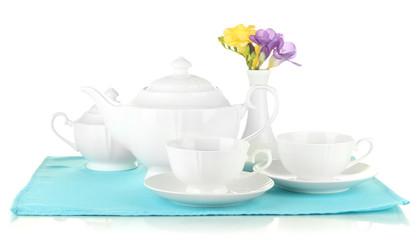 Beautiful tea service, isolated on white
