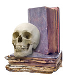 skull and two old books isolated on white
