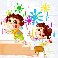 vector illustration of vector illustration of kids playing Holi