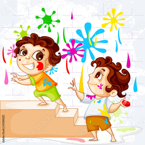 vector illustration of vector illustration of kids playing Holi
