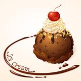 Chocolate Ice cream with chocolate sauce