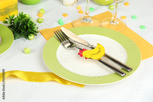 Serving Easter table close-up