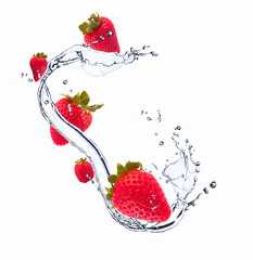 Strawberries in water splash, isolated on white background