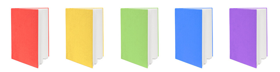 Five colorful books. Isolated on white background.