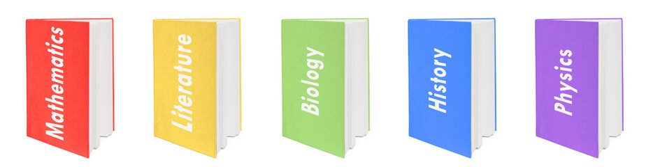 Five colorful textbooks. In English. Isolated on white.