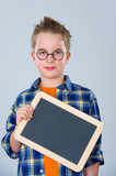 boy with glasses and little blackboard