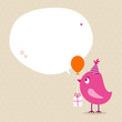 Pink Bird Birthday Gift Balloon Speech Bubble Beige
