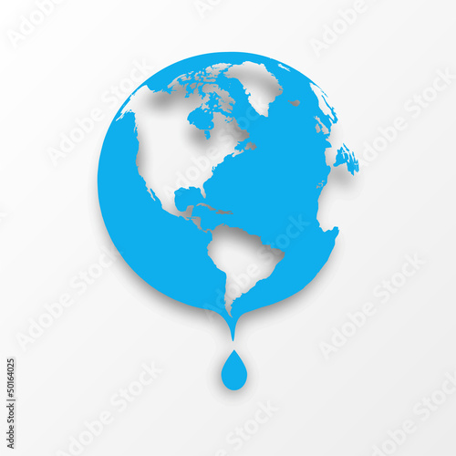 Vector blue earth globe with drop of water.
