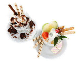 Ice cream with wafer sticks isolated on white