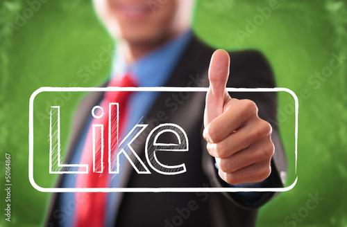 Hand with thumb up as like button