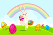 vector illustration of Easter bunny with basket colorful egg