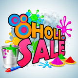 vector illustration of Holi Sale with color and pichkari