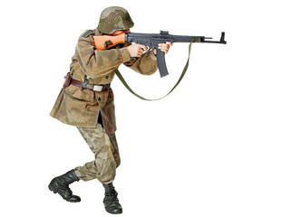 Soldier with submachine gun. Isolated on white background